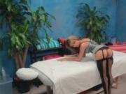 Shy blonde masseur in sexy lingerie