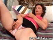 Sexy brunette MILF gets her tight wet cunt aroused by M