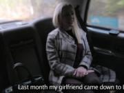 Scotish blonde bangs in London fake taxi