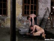 Hot gay Chained to the warehouse floor and unable to es