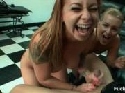 Super sexy babes from FuckTeamFive go crazy sucking coc
