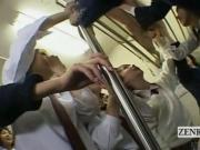 Subtitled CFNM Japanese schoolgirls train blowjob party