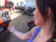 Hot bike mechanic girl with massive tits fucked in gara