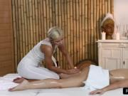 Blonde masseuse oils sexy brunette