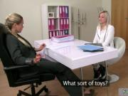 Female agent toys blonde on casting