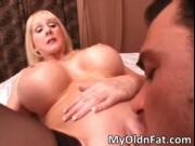 Amazing horny blonde MILF with giant boobs gets pussy l
