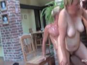 Mature licks cunt while getting fucked from behind