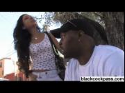 Little dark skinned teen plays with black men