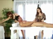 Rose Red and Edyn Blair massage shaft and jerk it off