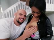 White dude lifting huge tits petite ebony before sex