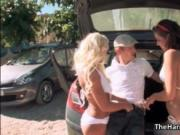Monster cock Danny D fucking with two hot babes outdoor