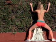 Slim Sasha masturbates with tennis racket