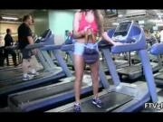 Sexy babe working out with her tits out in public by FT
