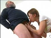 Young hottie licked by old dude