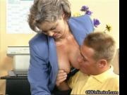 Dirty old woman getting her hairy pussy fingered and he