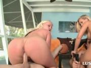 Big ass blondes humping dicks in 4some