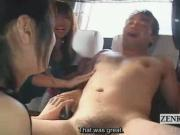 Subtitled Japanese CFNM triple blowjob party on bus