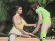 Two horny girls fucking around with each others huge di