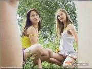 Teen girls posing outdoors