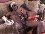 Ebony Housewife Slurping a Huge Cock