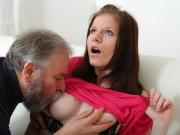 Maria lets an old guy fuck her and then gets her boyfriend to join in with the action