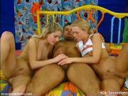 Two cute blonde teens getting lucky guy off