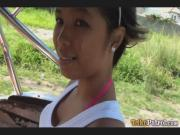 Dark-skinned Filipina girl Trixie picked up by foreigner driving Trike himself