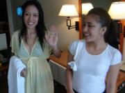 Two horny Filipina babes team up for threesome with one lucky white guy on vacation