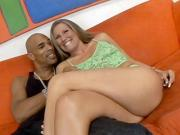 Sexy Blonde Seducing a Black Guy
