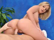 Cute 18 year old massage therapist Shaye gives a little more than a massage!
