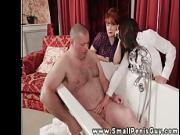 Femdom threeway with babes tugging on tiny dick