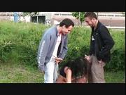Teen gangbang by 2 guys on the street