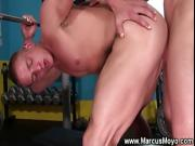 Bottom Marcus Mojo plowed hard by muscular gay