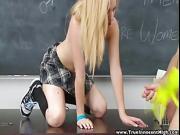 InnocentHigh Sexy blonde teen fucks boyfriend in classroom