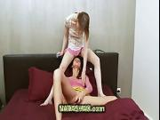 two curious teen girls have fun