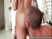 Petite Sasha Hall in bikini clit licked
