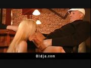 English oldman fucks a young american blonde in a bar