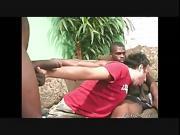 Muscular black men fucking the ass of a white guy