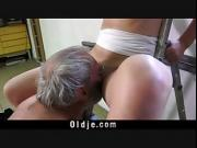 Transhed young girl makes old man fuck her nasty pussy
