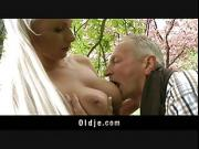 Rich old man fucking his busty blonde babe in the garden