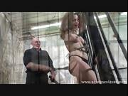 Female prisoner whipping and harsh bondage punishments of amateur bdsm slave Beauvoir in pain