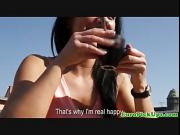 Shy euro pickup babe flashes her panties