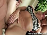 Cat Cleavage and her two studs go at it in the kitchen