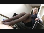 feetteasing and footjob in sheer black nylons