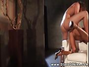 Nika Noire taken from behind on her love seat by stud