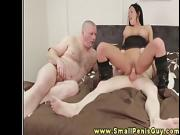 Dom treats tiny dicks to her mouth before she sits on them