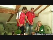Football fans bang old grandma