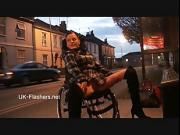 Paraprincess outdoor exhibitionism and flashing wheelchair bound babe showing off big tits and shaved pussy in public