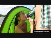 Brunette teen Eveline suck and fuck outdoors