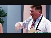 Beautiful nurse gets doctors cum on tit